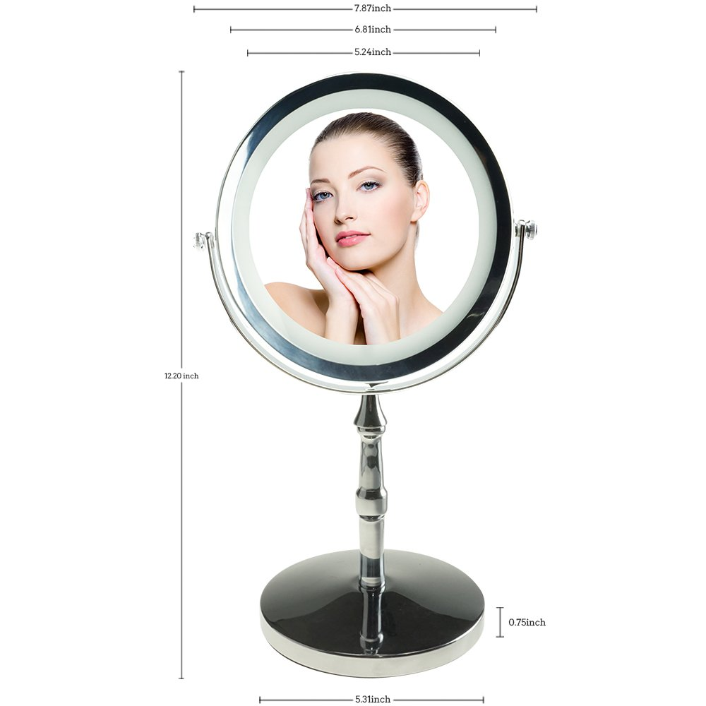 Lansi 10x Magnifying Makeup Mirror, Two Sides LED White Daylight Shadow Free Cordless Table Mirror, 360° Swivel Lighted Vanity Mirror, Portable Illuminated Bathroom Mirror