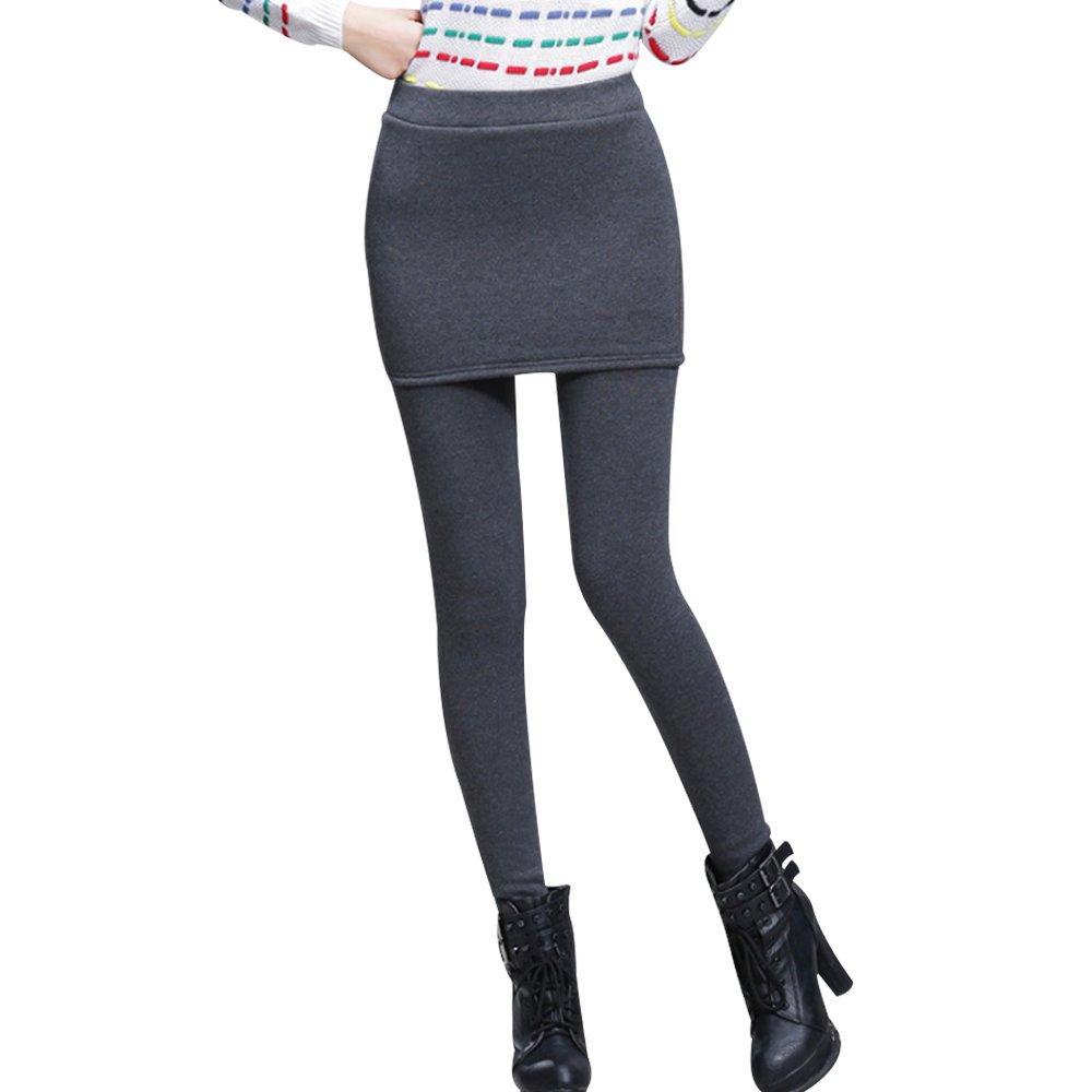 OCHENTA Women's Thermal Winter Fleece Lined Pants Skinny Skirt Leggings Tights Dark Grey M - US 6-8