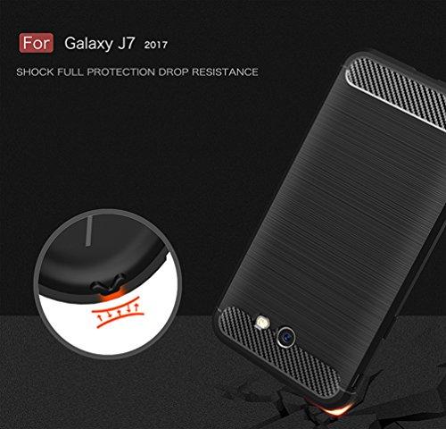 Funda Samsung Galaxy J7(2017),Alta Calidad Ultra Slim Anti-Rasguño y Resistente Huellas Dactilares Totalmente Protectora Caso de Cover Material de fibra de carbono TPU Adecuado para el Galaxy J7(2017) B