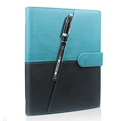 HOMESTEC Erasable Reusable Smart Notebook PU Leather Hardcover Sketch Pads APP Storage Available with 1 Erasable Pen Perfect for Student/Archiect/Journalist/Writer (100pages-A5-Black & Green)