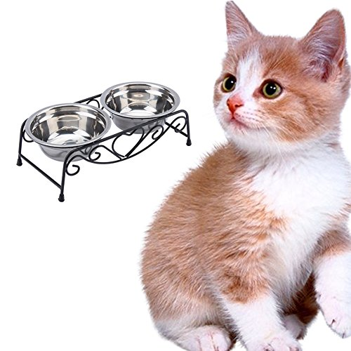 (Yosoo Stainless Steel Double Feeder Dishes Pet Cat Dog Puppy Food and Water Dish Bowls with Retro Iron)