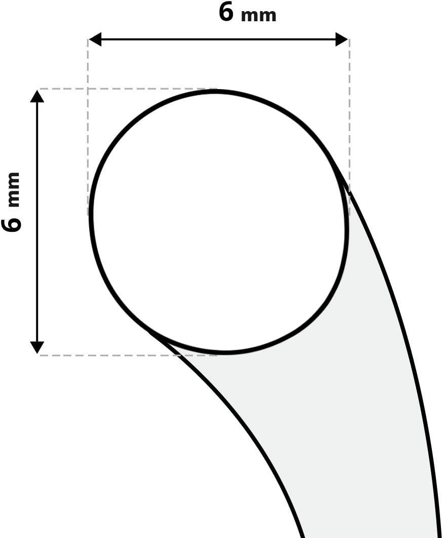 STEIGNER Cord/ón de Fibra de Vidrio SKD02-6 1 m Gris Oscuro Sellador Resistente a Temperaturas hasta 550/°C 6 mm