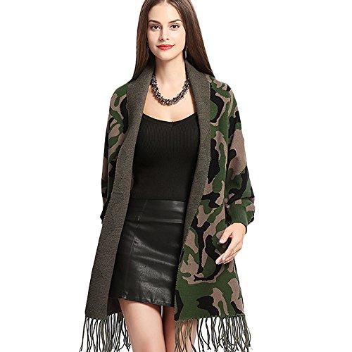 Women Poncho Embroidery Cloak Shawl Wrap Fashion Scarf with Bat Sleeve Tassels Pashmina (Green camouflage)