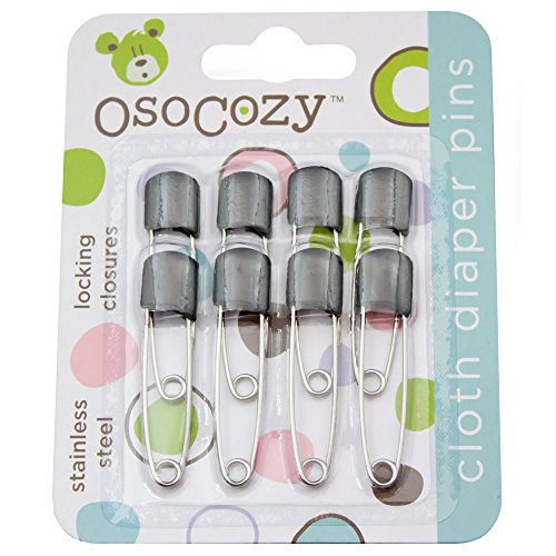 Price comparison product image OsoCozy Diaper Pins - {Black} - Sturdy,  Stainless Steel Diaper Pins with Safe Locking Closures - Use for Special Events,  Crafts or Colorful Laundry Pins