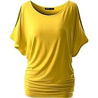 Baijiaye Femme Tee Top Grande Taille Manche Courte T-Shirt Collier V Manches Chauve-Souris Décontractée Tee