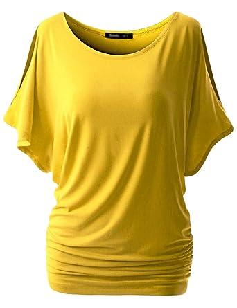 8d1b6e62edccfc Baijiaye Damen Tee Oben Große Größe Kurzarm T-Shirt Lose V Kragen  Fledermaus Ärmel Casual