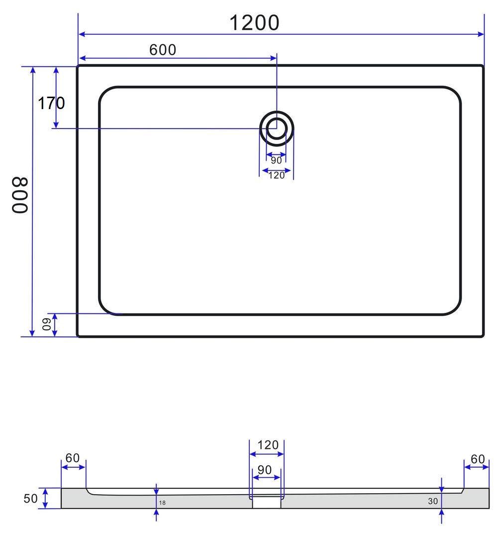 50 MM Shower Tray 90 x 75 CM