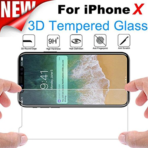 Dolloress for iPhone X,2PC 3D 9H Hardness Premium Real Tempered Glass Screen Protector Protective Film Cover for iPhone X by Dolloress (Image #1)