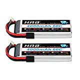 HRB 2PCS 3S 11.1V 4000mAh 60C Lipo Battery with Traxxas TRX Plug for RC Helicopter Airplane Car Boat Truck