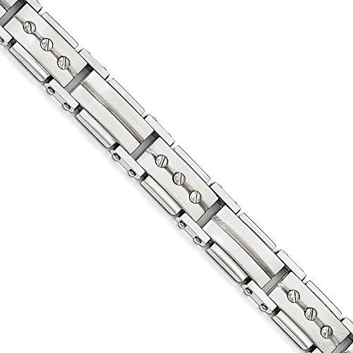 Bracelet en acier inoxydable brossé et poli-23cm