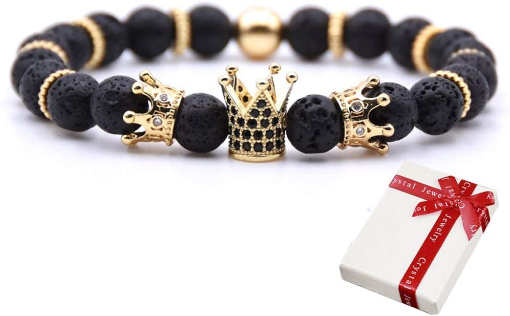 Crown King Bracelet, Cuentas de piedra natural, Bangle Pulseras elásticas de piedras preciosas, CZ Crowns King Black Lava Volcanic Stone y Cubic Zirconia, Joyas para hombres mujeres Regalos 8mm