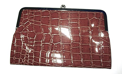 Large Kiss Lock Double Frame Wallet Glossy Crocodile Texture with Choice of Colors (brown)