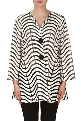 Joseph Ribkoff Black & White Semi-Sheer Zig Zag Striped Jacket Style 171816 (6) by Joseph Ribkoff