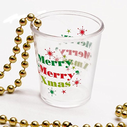 Christmas Merry Merry Xmas Party Shot Glass Gold Beaded Favor Treat (Gold Glass Beaded Necklace)