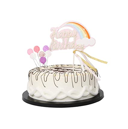 Image Unavailable Not Available For Color YUINYO Pink Glitter Rainbow Happy Birthday Cake Topper