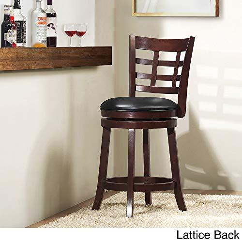 Inspire Q Verona Cherry Swivel 24-inch High Back Counter Height Stool by Classic Black Lattice ()