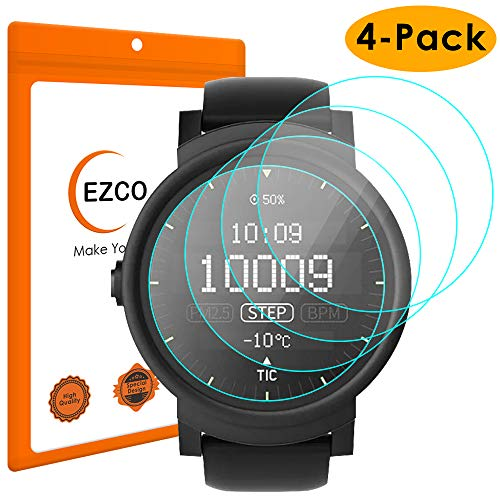 EZCO Compatible Ticwatch E/Ticwatch S Screen Protector (4-Pack), Waterproof Tempered Glass Screen Protector Cover Saver Compatible Ticctor Cover Saver [Scratch Resist] [99.9% Clear HD] [Anti-Bubble]