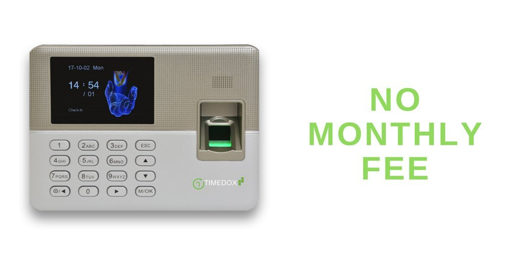 Timedox Silver | Biometric Fingerprint Time Clock | $0 Monthly fees | USB  Disk Drive Data Download | Requires Pro Suite Subscription ONE-TIME Payment