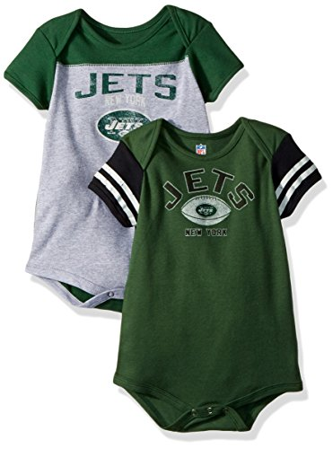 (Outerstuff NFL Infant Vintage Baby 2 Piece Onesie Set-Heather Grey-24 Months, New York Jets )