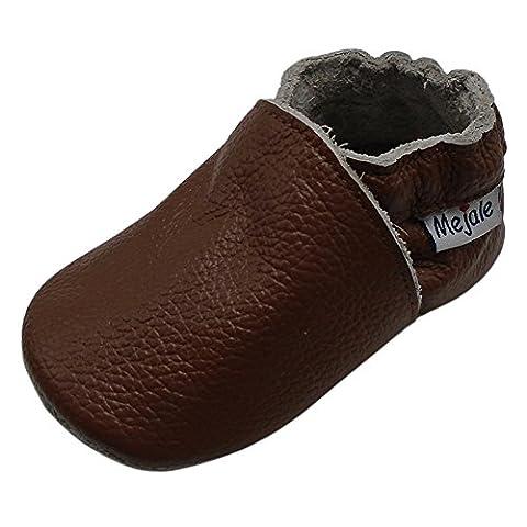 Mejale Baby Boy Shoes Soft Soled Leather Moccasins Anti-skid Infant Toddler Prewalker(brown,18-24 - Leather Baby Moccasins