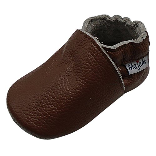 Mejale Baby Boy Shoes Soft Soled Leather Moccasins Anti-skid Infant Toddler Prewalker(brown,6-12 months)