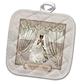 3dRose Beverly Turner Wedding Bridal Party Design - Bride in Wedding Gown, Drapes in Window, Invitation, Cream and Rose - 8x8 Potholder (phl_282068_1)
