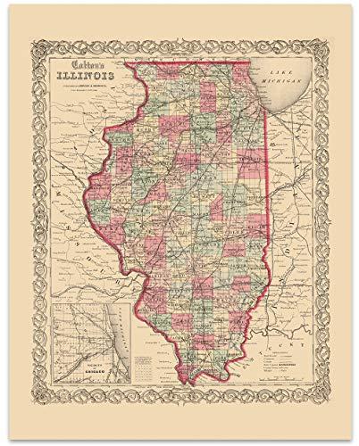 Illinois Vintage Map Circa 1867-11 x 14 Unframed Print - Great Housewarming Gift. Illinois Themed Office - 1867 Illinois Map