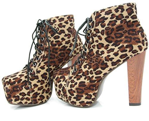 Kayla Shoes© Stiefeletten im Leopard Holzabsatz Style