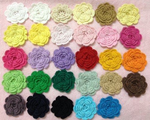 20pc Rainbow Collection Handmade Five Layers 2.17 Crocheted Flowers Applique…