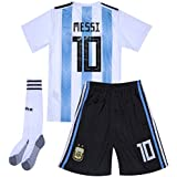 2018 Russia World Cup 10 Messi Argentina National Home Kids Youth Soccer Jersey & Shorts & Socks Set White/Blue 12-13Years/Size28