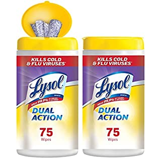 Lysol Dual Action Disinfecting Wipes w. Scrubbing Texture, 150ct (2X75ct)