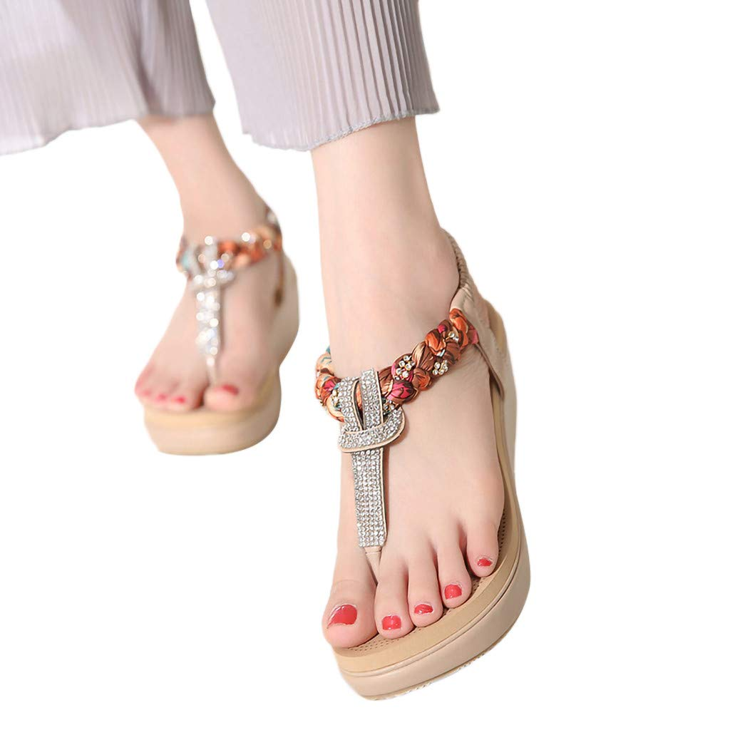 Lurryly Retro Fashion Womens Bohemia Style Wedge Flats Shoes Open-Toed Rome Sandals