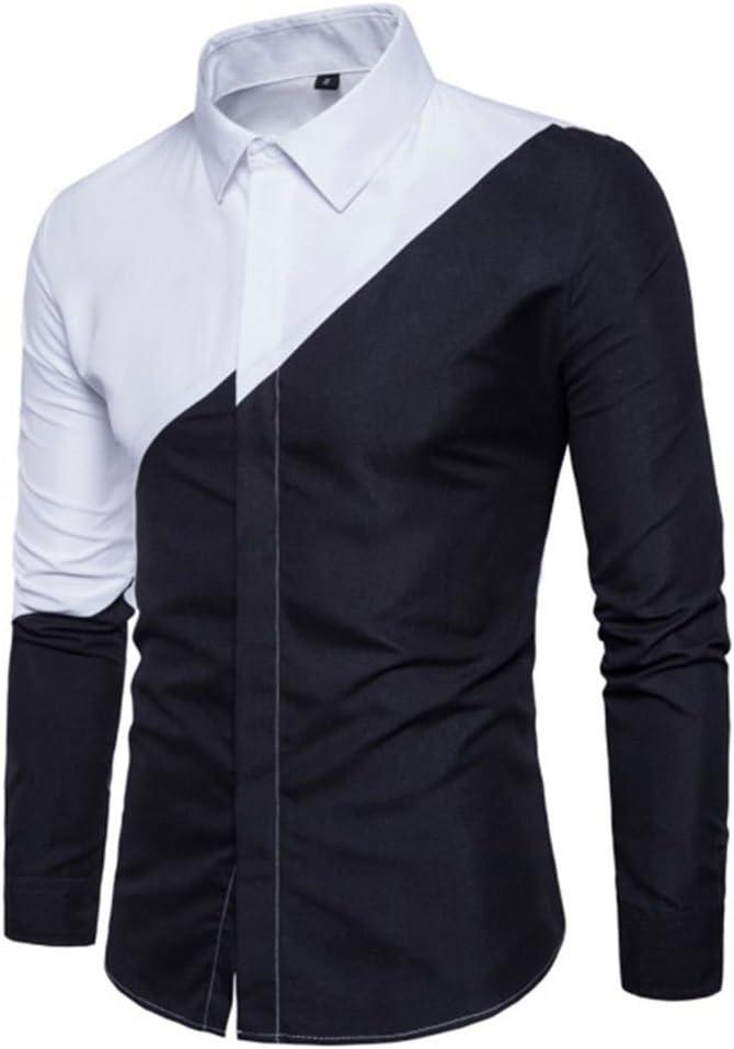 Usopu Camisa de Manga Larga Casual Blanca con Cuello en Color Negro Diario para Hombre: Amazon.es: Ropa y accesorios