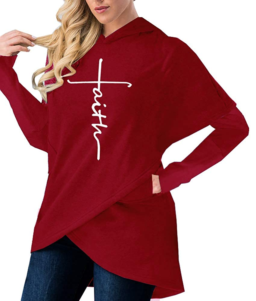 BOCOTUBE Women's Long Sleeve Hooded Asymmetric Hem Wrap Hoodie Sweatshirt Letter Print Casual Pullover Tops with Pockets BOCO-Hod05