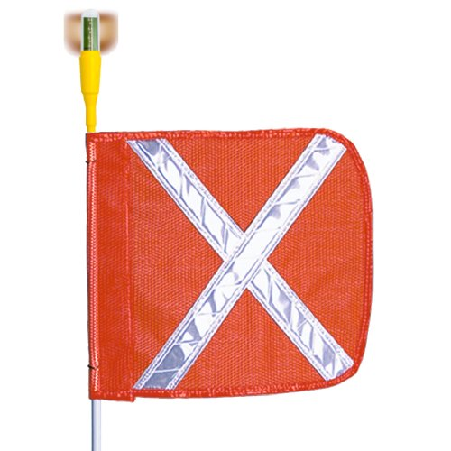 (Flagstaff G8 Safety Flag with White Reflective X and Light, Threaded Hex Base, 12