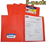 C-Line Two-Pocket Heavyweight Poly Portfolio with Prongs, For Letter Size Papers, Includes Business Card Slot, Pack of 5 Portfolios, Assorted Colors (Orange)