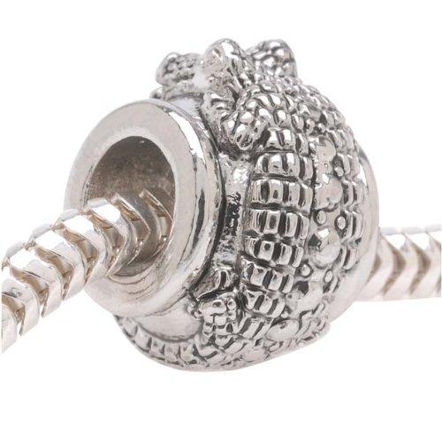 Silver Tone European Style Large Hole Bead With Alligator - (1)