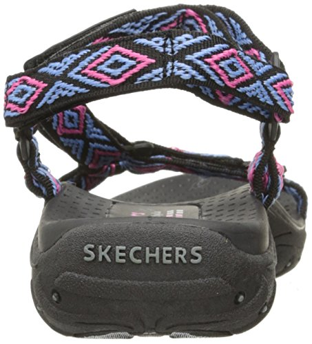 Women's Sandal Skechers Black Decked Reggae Out Multi Flat SqO7dOw