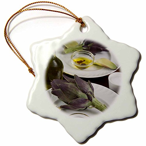 3dRose Artichoke, dipping sauce, cuisine - LI11 NTO0040 - Nico Tondini - Snowflake Ornament, Porcelain, 3-inch (orn_140036_1) -