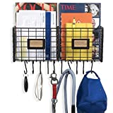 Foyer Organizer Wire Rack Wall Mountable with 10 Hooks for Keys Hats Umbrellas Coats and Bags Black