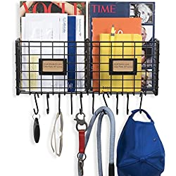 WALL35 Foyer Organizer Wire Rack Wall Mountable with 10 Hooks for Keys Hats Umbrellas Coats and Bags Black