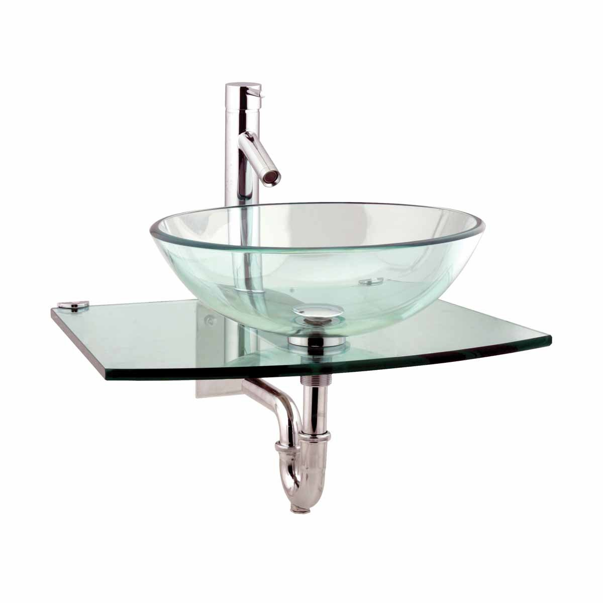 Halo Clear Tempered Glass Vessel Sink Complete Set With Chrome Faucet Drain Wall Mount Stainless Steel Unique Modern by Renovator's Supply