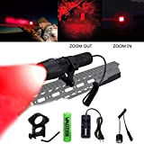 VASTFIRE Red Night Hunting Light for Predator, Coyotes, Foxes, Bobcats, Varmints, Rifle, Zoomable CREE LED Flashlight 350 Yard with Remote Pressure Switch Picatinny Rail Mount