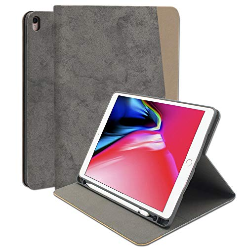 Buruis iPad Pro 10.5 Case - Stylish Stand Folio Case Cover for Apple iPad Pro 10.5 Inch 2017, with Apple Pencil Holder, Multiple Viewing Angles (Gray)
