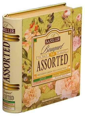 - Basilur Tea Book Foil Envelope Bouquet Assorted, Green & Oolong Teas, 32 enveloped bags  in Metal Tin Box
