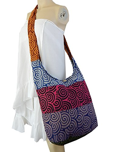 BTP! Hippie Hobo Cotton Sling Crossbody Bag Messenger Purse Bohemian Swirl Printed (Patchwork Random Colors) by BenThai Products