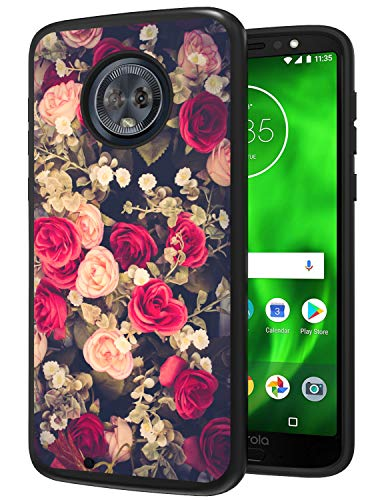 Moto G6 Case, Moto G6 Phone Case, ANLI [Fashion Floral Design] Drop Protection Hybrid Dual Layer Protective Case Compatible with Motorola Moto G6 for Girls and Women 2018 Released Flowers Black