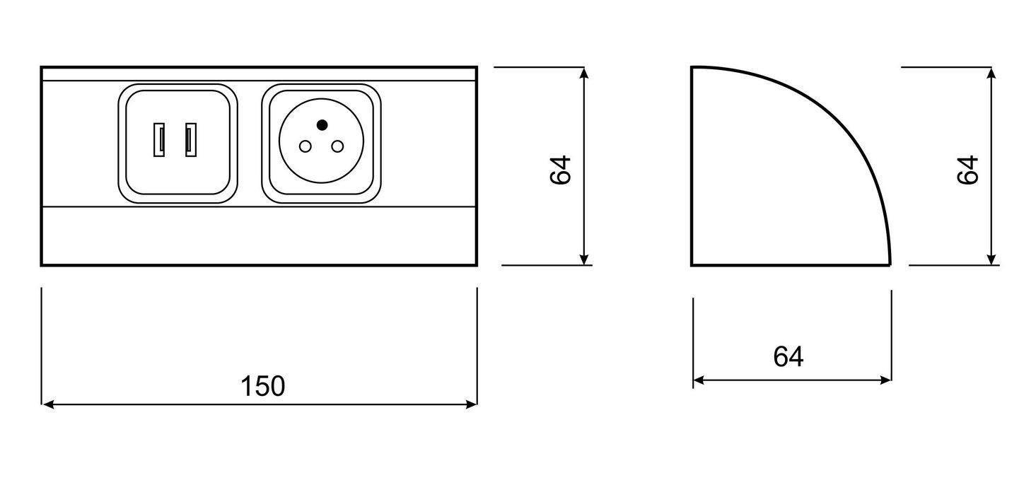Cassetta di scarico Mobili della presa USB SCHUKO Variante cucina prese SOTTOPENSILE