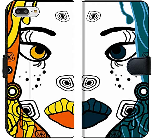 Liili Premium iPhone 8 Plus Flip Micro Fabric Wallet Case Set of Two Vector Halloween Woman Cartoon Portraits Party Background for Text Image ID 11243777]()