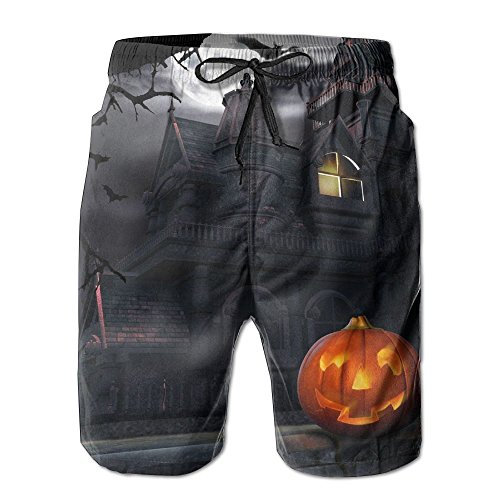 Full Moon Hallowmas Halloween Men's Swim Trunks Quick Dry Beach Shorts Custom Boardshorts Comfortable Size L